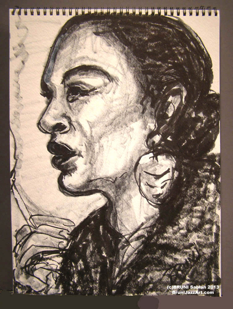 Billie Holiday Sketch by BRUNI