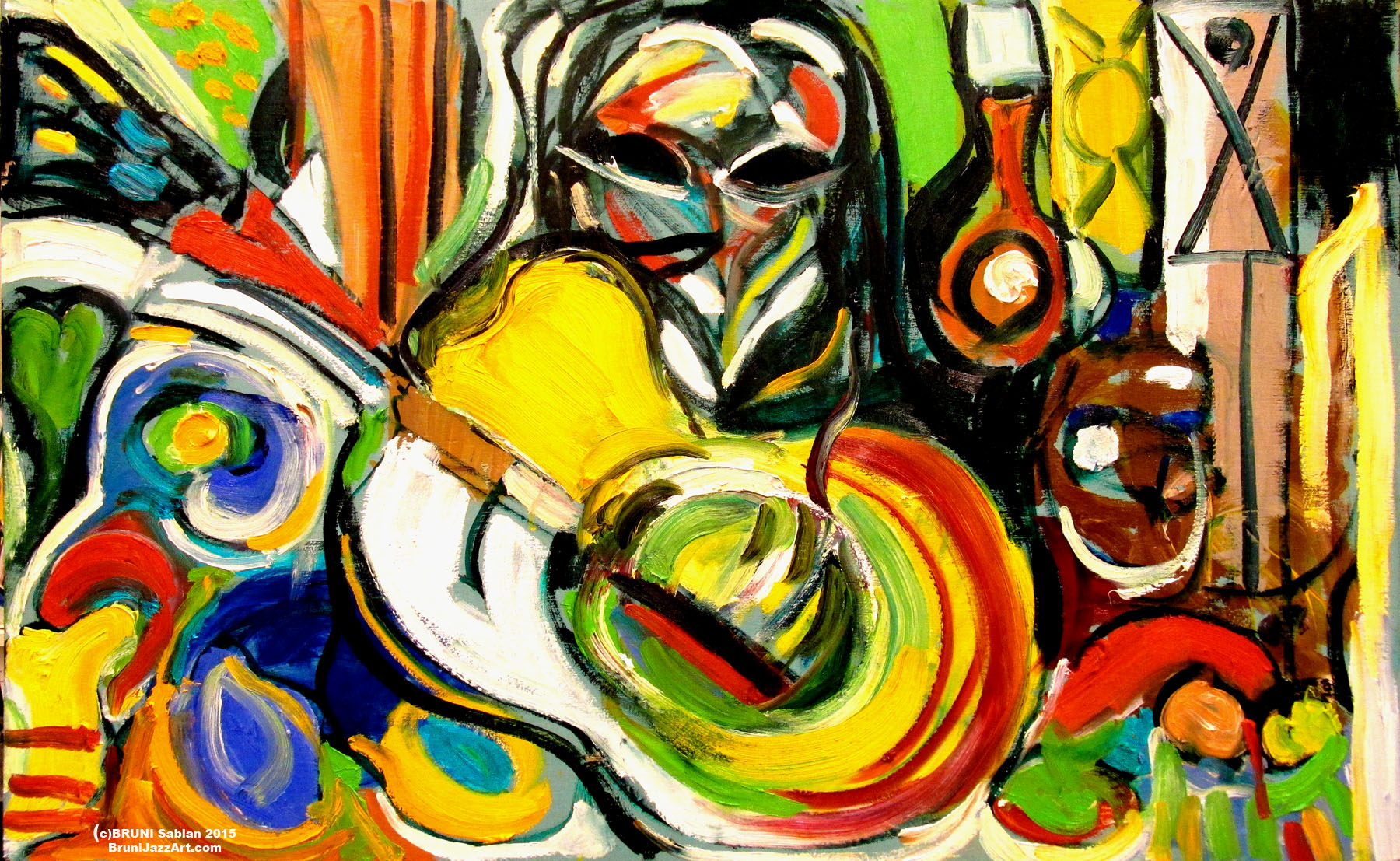 Abstract Guitar Painting by BRUNI